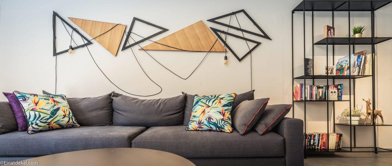 אלמנט תאורה משולב באומנות הסלון
